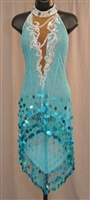 Sevy Aqua See Through Off Shoulder Hand Made Beads Coin Latin Dress