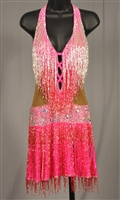 Sexy Hot Pink Beads Latin Dress