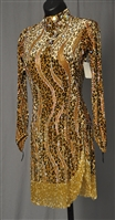 Sexy Gold Leopard Beads Latin Dress