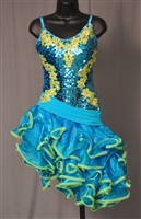 Fun & Sexy Ruffle Skirt Sequin Aqua Latin Dress