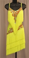 Sexy Lime Green Fringe Latin Dress