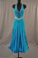 Aqua Chiffon Hook neck Ballroom Dress