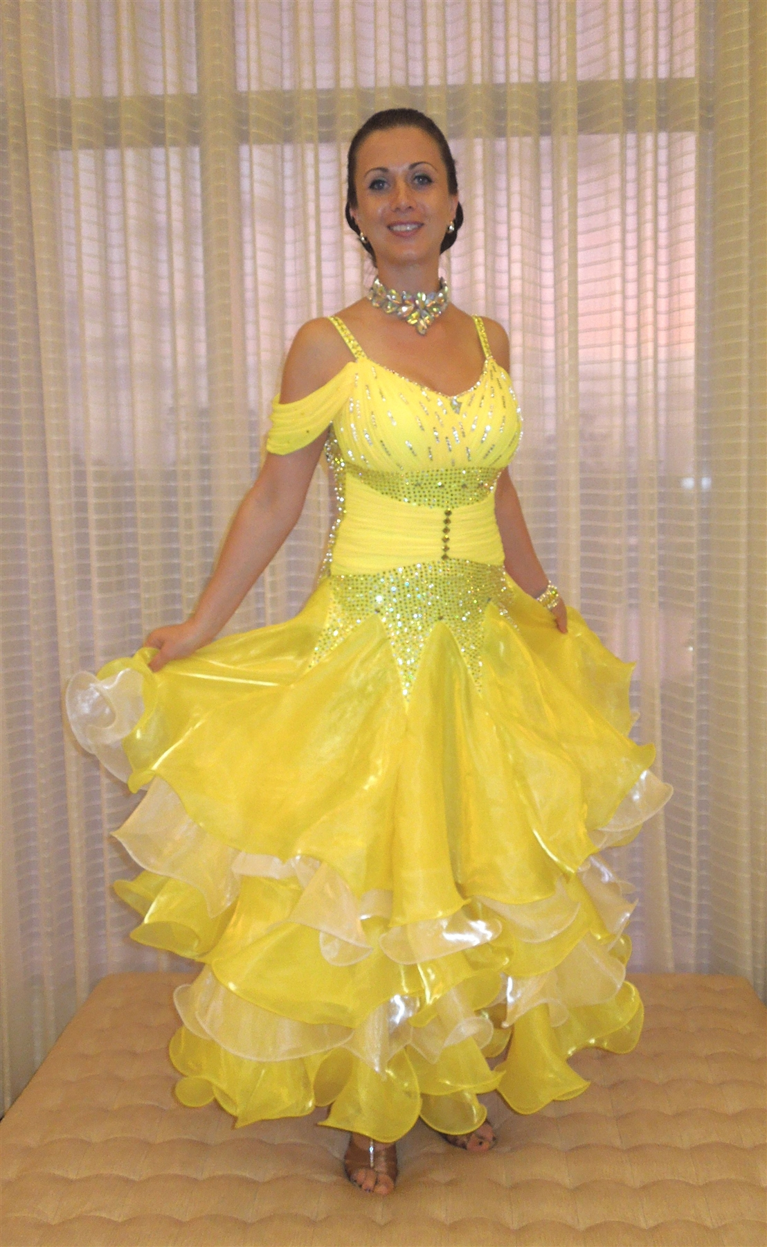 princess belle yellow korean yarn ballroom dress