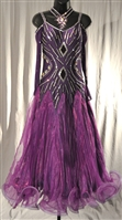 Elegant Purple Mesh Sleeves Pleaded Skirt Ballroom Dress