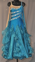 Elegant Blue Ballroom Dress with Nude mesh drop shoulder sleeves