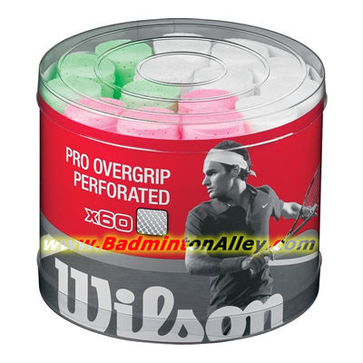 Wilson Pro Overgrip Perforated Bucket 60pcs Assorted Colors