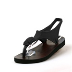 Topsies Black stretch sandal flip flops with Twisted Rose ornament