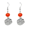 Silver Beaded Drop Earrings Clemson Tiger