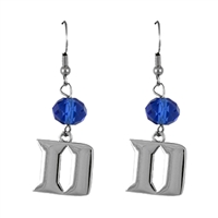 Silver Beaded Drop Earrings Duke Blue Devil