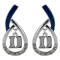Duke University Silver Rhinestone Earrings Licensed College Jewelry Blue Devils