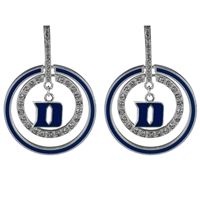 Rhinestone Hoop Silver Earrings Blue Devils College Jewelry
