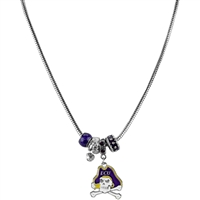 Silver Beaded Charm Necklace East Carolina Pirates