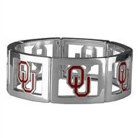 Square Stretch Sooners Silver Jewelry