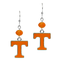 Silver Beaded Drop Earrings Tennessee Volunteers
