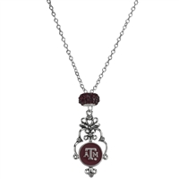 Texas A&M Aggies Silver Rhinestone Necklace Licensed College Jewelry