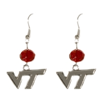 Silver Beaded Drop Earrings Virginia Tech Hokie