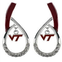 Virginia Tech Silver Rhinestone Earrings Licensed College Jewelry