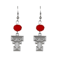 Silver Beaded Drop Earrings Texas Tech Red Raider