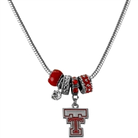 Silver Beaded Charm Necklace Red Raiders