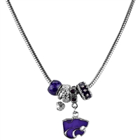 Silver Beaded Charm Necklace Kansas State Wildcats