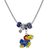 Silver Beaded Charm Necklace Kansas
