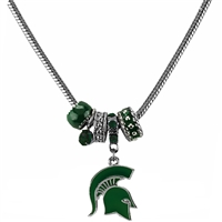 Silver Beaded Charm Necklace Michigan State Spartans