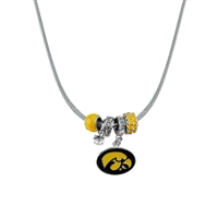 Silver Beaded Charm Necklace Hawkeyes