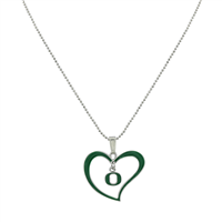 University of Oregon Logo Heart Charm Necklace