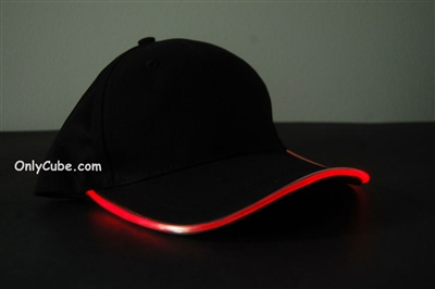 Led Lighted Glow Hat Black Fabric Red LED