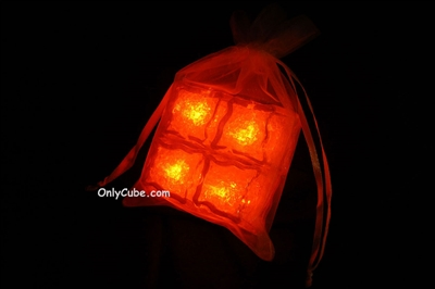 Litecubes Orange Light up LED Ice Cubes Sheer Fabric Gift Bag Set