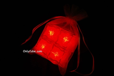 Litecubes Red Light up LED Ice Cubes Sheer Fabric Gift Bag Set
