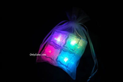 Litecubes RAINBOW Light up LED Ice Cubes Sheer Fabric Gift Bag Set