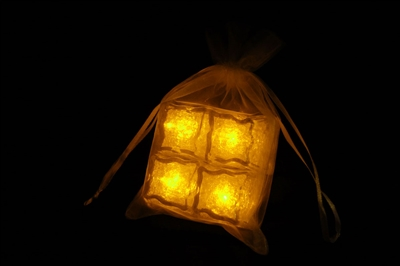 Litecubes Yellow Light up LED Ice Cubes Sheer Fabric Gift Bag Set