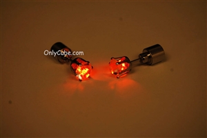 Orange LED Light Up Diamond Shape Stud Earrings