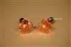 Orange LED Light Up Flower Shape Stud Earrings