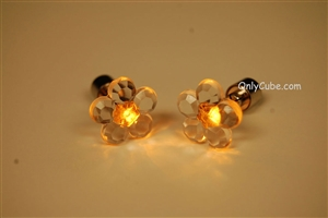 Yellow LED Light Up Flower Shape Stud Earrings