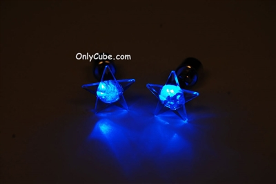 Blue LED Light Up Star Shape Stud Earrings