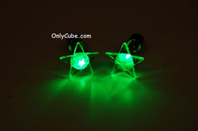 Green LED Light Up Star Shape Stud Earrings