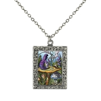 Alice in Wonderland Alice and Caterpillar Art Necklace