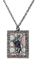 Alice in Wonderland White Rabbit Art Necklace