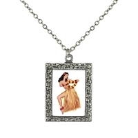 Vintage Art Pendant Necklace - Hawaiian Pin-Up Girl