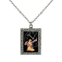 Vintage Art Pendant Necklace - Pajama Pin-Up Girl