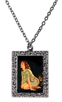 Vintage Art Pendant Necklace - Redhead Negligee Pin-Up Girl