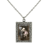 Hierophant Tarot Card Frame Necklace