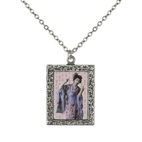 Vintage Photo Pendant Necklace - Geisha Flips the Bird