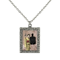 Geisha with a Gun Pendant Frame Necklace