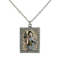 Vintage Photo Pendant Necklace - Geisha with Grenades