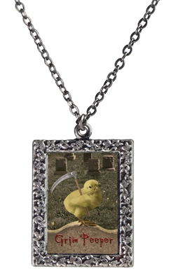 Original Art Photo Pendant Necklace - Beware the Grim Peeper