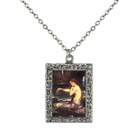 Vintage Photo Pendant Necklace - Mermaid Combing her Hair