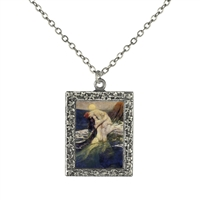 Vintage Photo Pendant Necklace - Mermaid Seduction